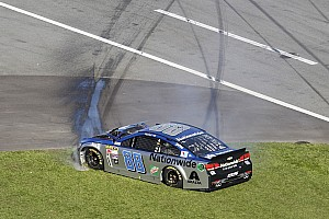 NASCAR Sprint Cup Breaking news Dale Earnhardt Jr. pounds the inside wall late in the Daytona 500