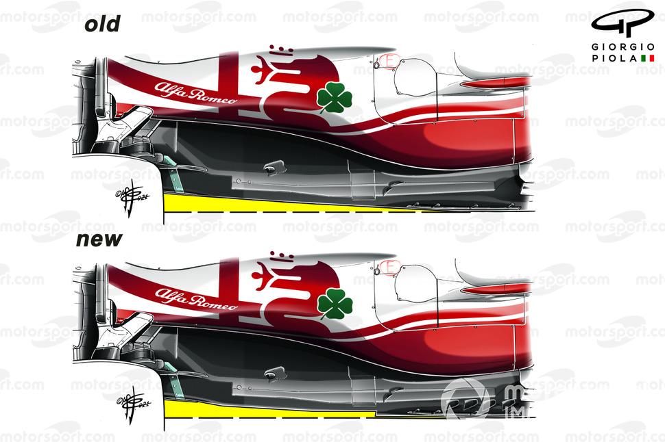 Comparación del piso del Alfa Romeo Racing C41.