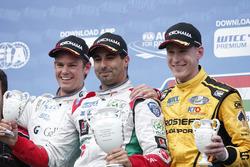 Podium: second place Tom Chilton, Sébastien Loeb Racing, Citroën C-Elysée WTCC; Winner Mehdi Bennani, Sébastien Loeb Racing, Citroën C-Elysée WTCC; third place Nicky Catsburg, LADA Sport Rosneft, Lada Vesta