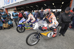 Dani Pedrosa on the RS125R he won his 2003 125cc World Championship with and Marc Marquez on a historic RC142