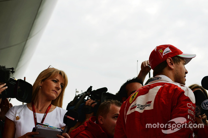 Sebastian Vettel, Ferrari with the media