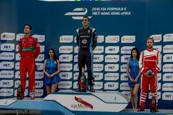 Podium: Race winner Sébastien Buemi, Renault e.Dams; second place Lucas di Grassi, ABT Schaeffler Audi Sport; third place Nick Heidfeld, Mahindra Racing
