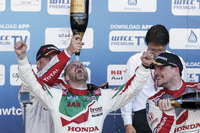 WTCC Photos - Podium: Race winner Tiago Monteiro, Honda Racing Team JAS, Honda Civic WTCC; second place Yvan Muller, Citroën World Touring Car Team, Citroën C-Elysée WTCC; third place Norbert Michelisz, Honda Racing Team JAS, Honda Civic WTCC