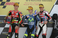 Moto2 Photos - Podium: Race winner Dani Pedrosa; second place Jorge Lorenzo; third place Casey Stoner