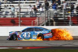 Aric Almirola, Richard Petty Motorsports Ford on fire