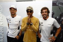 Fernando Alonso, McLaren and team-mate Jenson Button, McLaren with Pharrell Williams, Singer-Songwriter