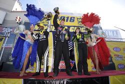 Top Fuel winner Antron Brown, Funny Car winner Alexis Dejoria, Pro Stock winner Jason Line