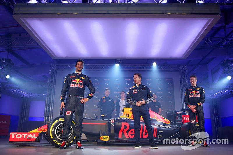 Daniel Ricciardo and Daniil Kvyat with the Red Bull Racing RB12 livery with Christian Horner, Red Bull Racing Team Principal