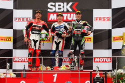 Podium: race winner Nicky Hayden, Honda WSBK Team, second place Davide Giugliano, Ducati Team, third place Jonathan Rea, Kawasaki Racing