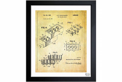 Lego toy building brick 1961 framed art