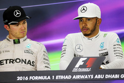 Nico Rosberg, Mercedes AMG F1 in the FIA Press Conference with team mate Lewis Hamilton, Mercedes AMG F1