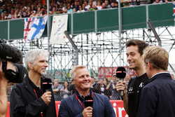 (L to R): Damon Hill, Sky Sports Presenter; Johnny Herbert, Sky Sports F1 Presenter; Jolyon Palmer, Renault Sport F1 Team; Simon Lazenby, Sky Sports F1 TV Presenter