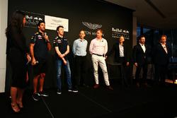 Daniel Ricciardo, Daniil Kvyat, Red Bull Racing with Ian Minards, Director of Product Development  Aston Martin, Marek Reichman, Chief Creative Officer and Design Director Aston Martin, Adrian Newey, Chief Technical Officer Red Bull Racing, Christian Horner, Red Bull Racing Team Principal and Andy Palmer, Chief Executive Officer Aston Martin