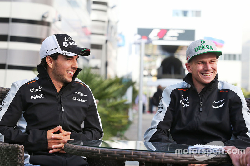 Sergio Perez, Sahara Force India F1 and Nico Hulkenberg, Sahara Force India F1