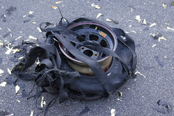 The exploded tire of race winner Kevin Harvick, Stewart-Haas Racing Chevrolet