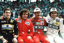 1986 World Championship contenders, Ayrton Senna, Lotus, Alain Prost, McLaren, Nigel Mansell, Williams, Nelson PIquet, Williams
