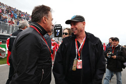 (L to R): Jean Alesi, with Guy Liberte, Cirque de Soleil on the grid