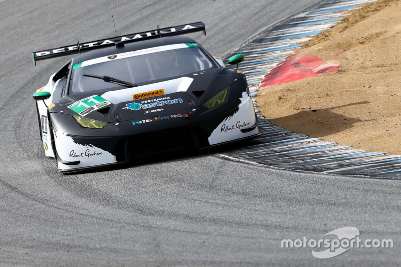 11 change racing lamborghini huracan gt3 townsend bell bill sweedler at laguna seca. Black Bedroom Furniture Sets. Home Design Ideas