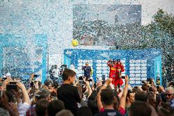 Second place Daniel Abt, ABT Schaeffler Audi Sport and third place Lucas di Grassi, ABT Schaeffler Audi Sport celebrate on the podium