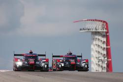 #7 Audi Sport Team Joest Audi R18: Marcel Fässler, Andre Lotterer, Benoit Tréluyer, #8 Audi Sport Team Joest Audi R18 e-tron quattro: Lucas di Grassi, Loic Duval, Oliver Jarvis