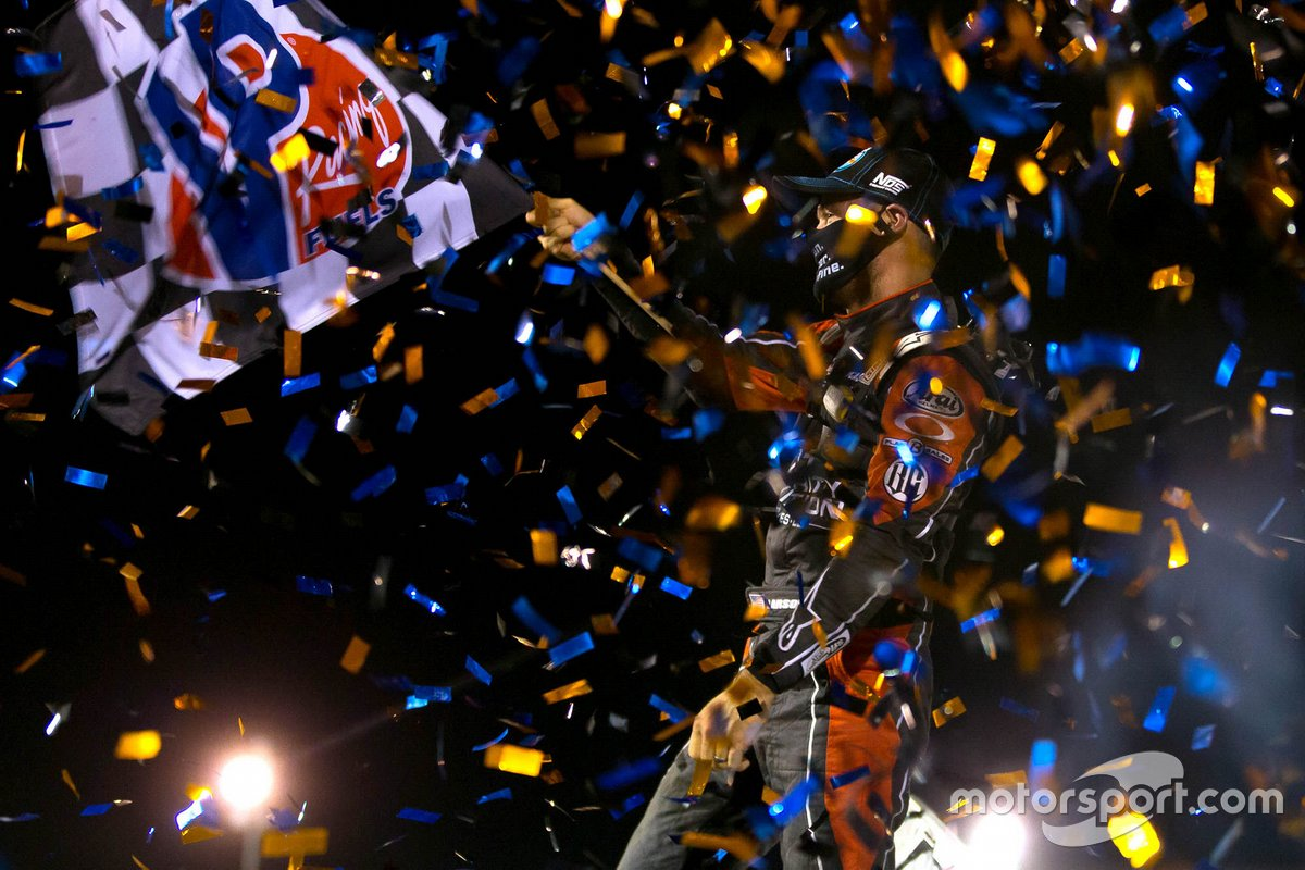 Fired NASCAR star wins World of Outlaws race at Pevley