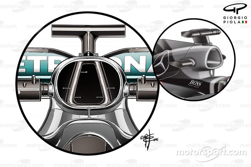 Mercedes AMG F1 W07 airbox comparison with W06
