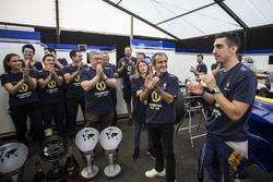 Sebastien Buemi, Renault e.Dams with Alain Prost and team celebrate in the garage