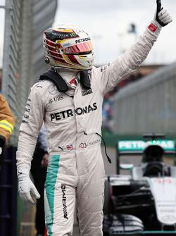 Polesitter Lewis Hamilton, Mercedes AMG F1 Team celebrates in parc ferme