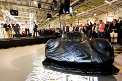 Andy Palmer- President & Chief Executive Officer, Aston Martin Lagonda Ltd talks on stage at the Aston Martin and Red Bull Racing Project AMRB 001 Unveil