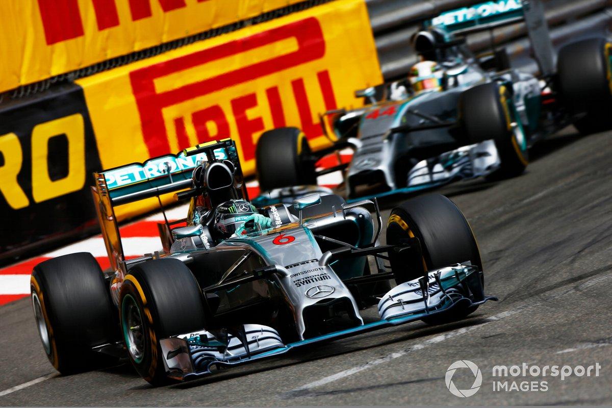 Nico Rosberg, Mercedes F1 W05 Hybrid, leads Lewis Hamilton, Mercedes F1 W05