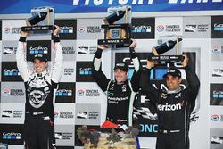 Podium: race winner and 2016 champion Simon Pagenaud, Team Penske Chevrolet, second place Graham Rahal, Rahal Letterman Lanigan Racing Honda, third place Juan Pablo Montoya, Team Penske Chevrolet