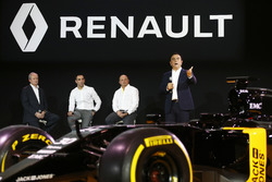 (L to R): Patrice Ratti, Renault Sport Cars General Manager; Cyril Abiteboul, Renault Sport F1 Managing Director; Frederic Vasseur, Renault F1 Team Racing Director; Carlos Ghosn, Chairman of Renault