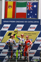 MotoGP Photos - Podium: winner Valentino Rossi, Yamaha Factory Racing, second place Jorge Lorenzo, Yamaha Factory Racing, third place Casey Stoner, Ducati Team