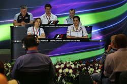 The FIA Press Conference: Otmar Szafnauer, Sahara Force India F1 Chief Operating Officer; Toto Wolff, Mercedes AMG F1 Shareholder and Executive Director; Stephen Fitzpatrick, Manor Racing Team Owner; Claire Williams, Williams Deputy Team Principal; Monisha