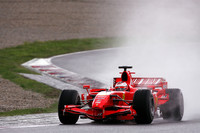 Raikkonen fastest again at wet Barcelona