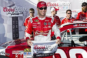 NASCAR Sprint Cup Qualifying report Harvick breaks pole drought at Kansas