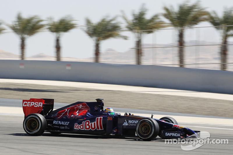 Toro Rosso's Daniil Kvyat improves his time on day three at Bahrain