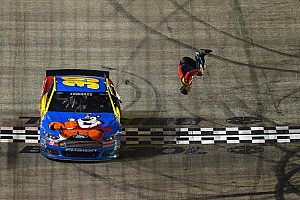 NASCAR Sprint Cup Breaking news Edwards wins wet one in Bristol