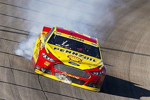 Why did Logano's engine blow as he crossed the finish line?