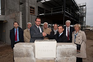 The first stone of the Porsche Experience Centre at Le Mans has been laid