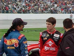 Kyle and Adam Petty converse before Adam's first WC qualifying attempt