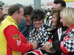 Ken Schrader signing autographs at pit wall