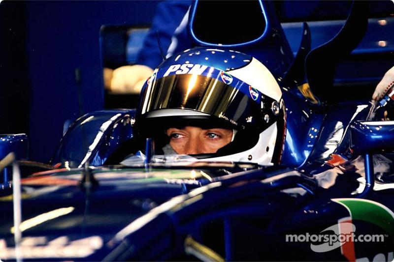 Jean Alesi in the garage