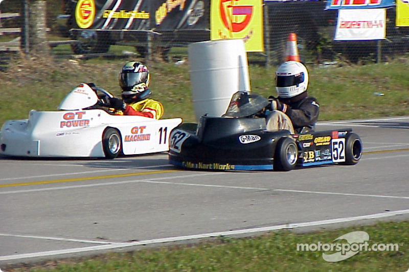Briggs Heavy: 52-Joe Bodenschatz and 11-Dan Koehler battle it out on the back straight