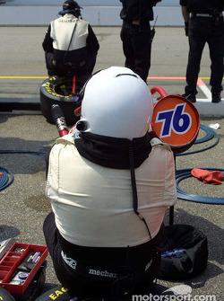 Gas man waiting