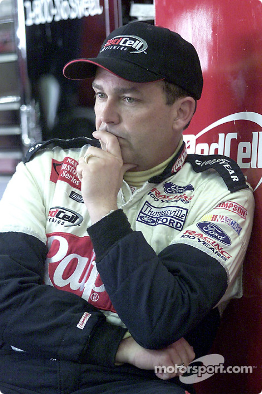 Brett Bodine sits deep in thought at Fontana