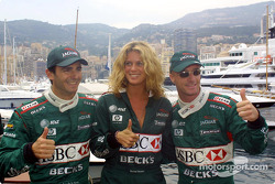 Pedro de la Rosa, Rachel Hunter and Eddie Irvine