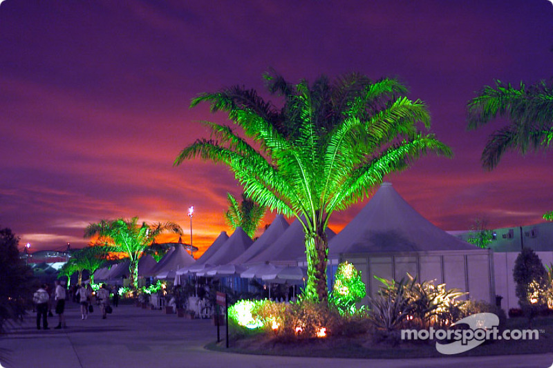 Magical colors: the Sepang paddock by night