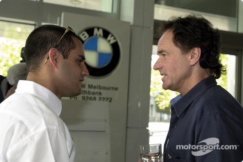 Juan Pablo Montoya and former 500cc motorcycle World Champion Barry Sheene