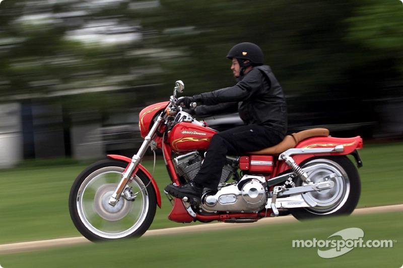 Patrick Carpentier on a Harley-Davidson